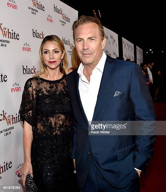 Actor Kevin Costner and his wife Christine Baumgartner arrive at the premiere of Relativity Media's 'Black Or White' at the Regal Cinemas LA Live on...