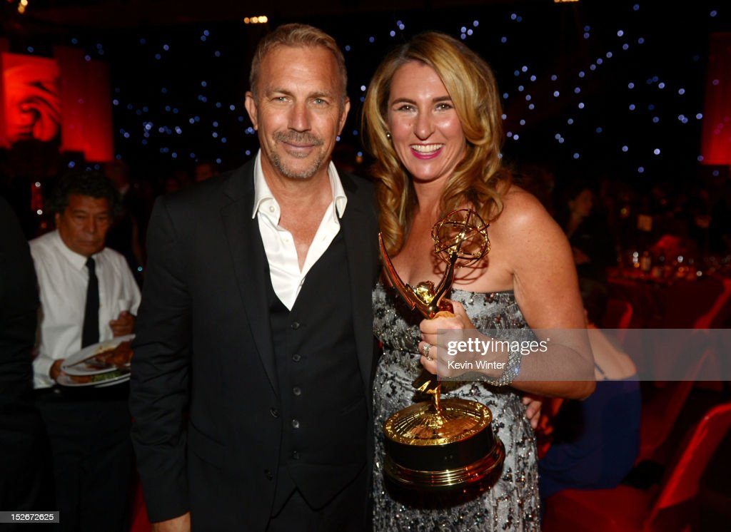 Actor Kevin Costner and Nancy Dubuc, A&E President of Entertainment and Media, attend the 64th Annual Primetime Emmy Awards Governors Ball at Nokia Theatre L.A. Live on September 23, 2012 in Los Angeles, California.