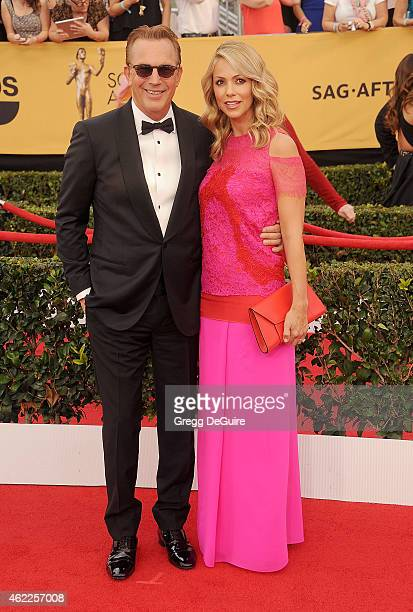 Actor Kevin Costner and wife Christine Baumgartner arrive at the 21st Annual Screen Actors Guild Awards at The Shrine Auditorium on January 25 2015...