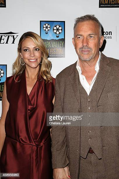 Actor Kevin Costner and wife Christine Baumgartner arrive at the 'Black and White' screening at the Napa Valley Film Festival on November 13 2014 in...