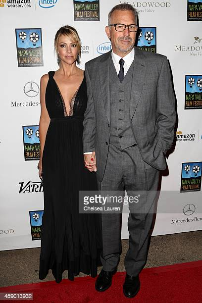 Actor Kevin Costner and wife Christine Baumgartner attend MercedesBenz arrivals at Napa Valley Film Festival celebrity tribute night on November 14...