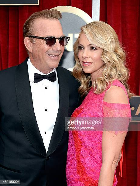 Actor Kevin Costner and wife Christine Baumgartner attend the 21st Annual Screen Actors Guild Awards at The Shrine Auditorium on January 25 2015 in...