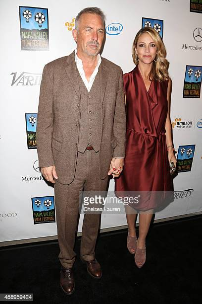 Actor Kevin Costner and wife Christine Baumgartner attend the MercedesBenz arrivals at the Napa Valley Film Festival Gala on November 13 2014 in Napa...