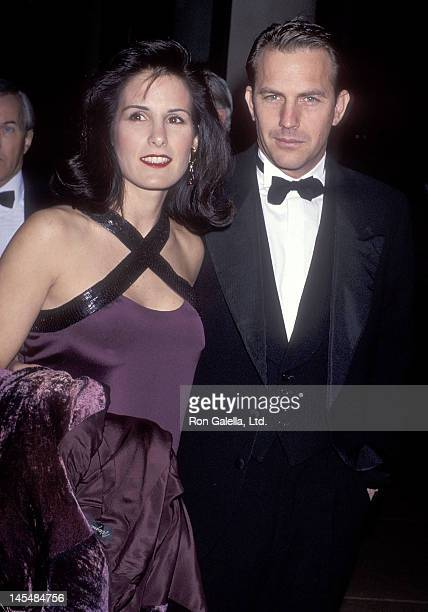 Actor Kevin Costner and wife Cindy Costner attend the 48th Annual Golden Globe Awards on January 19 1991 at the Beverly Hilton Hotel in Beverly Hills...
