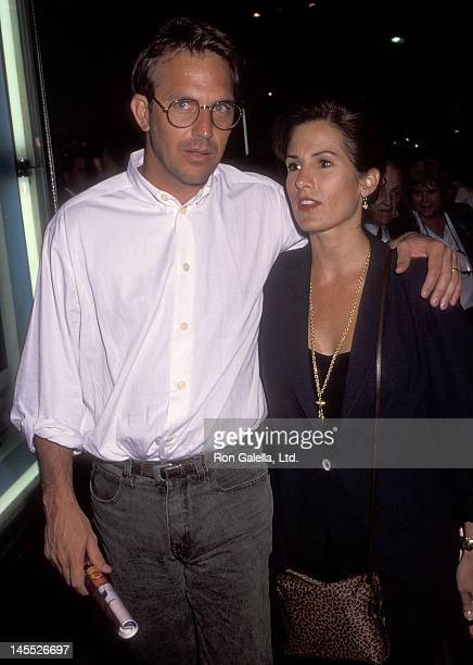 Actor Kevin Costner and wife Cindy Costner attend the 'Once on This Island' Opening Night Musical Performance on July 22 1992 at the Wilshire Theatre...