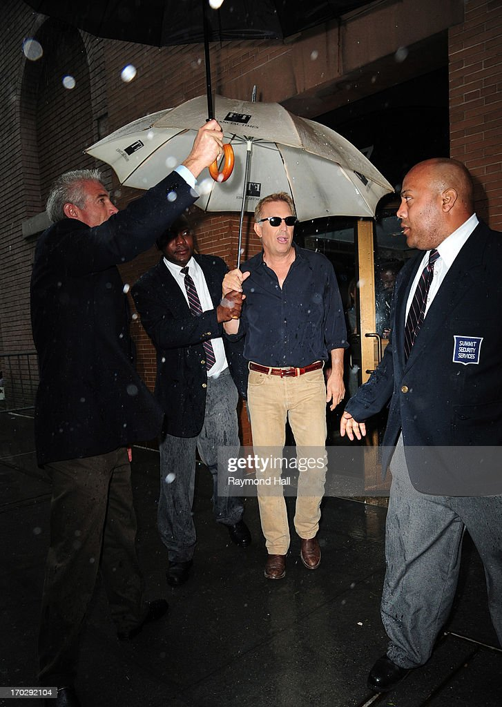 Actor <a gi-track='captionPersonalityLinkClicked' href=/galleries/search?phrase=Kevin+Costner&family=editorial&specificpeople=201719 ng-click='$event.stopPropagation()'>Kevin Costner</a> is seen outside the 'Katie Couric Show' on June 10, 2013 in New York City.