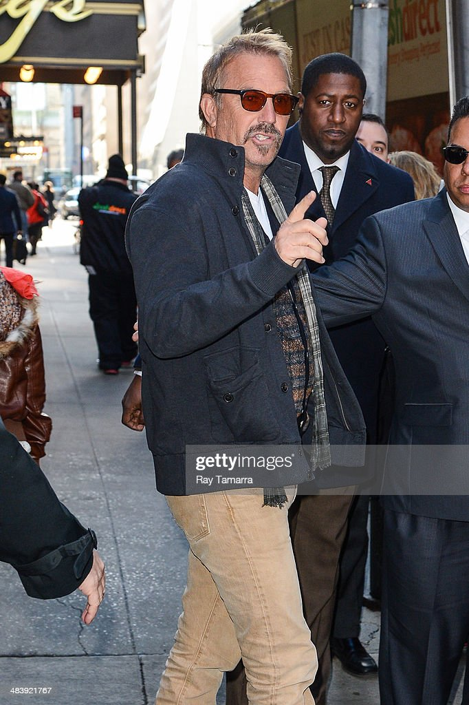 Actor Kevin Costner leaves the 'Good Morning America' taping at the ABC Times Square Studios on April 10, 2014 in New York City.