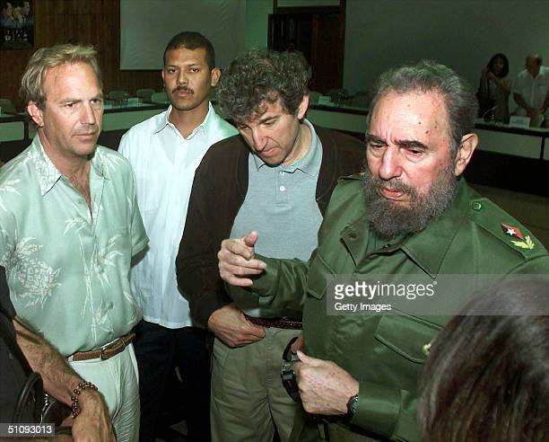 Actor Kevin Costner Left Meets With Cuban Leader Fidel Castro Right After A Conference On The Cuban Missile Crisis April 10 2001 In Havana Cuba...