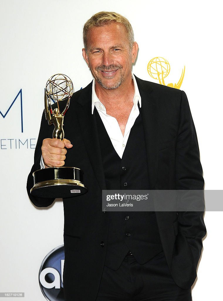 Actor <a gi-track='captionPersonalityLinkClicked' href=/galleries/search?phrase=Kevin+Costner&family=editorial&specificpeople=201719 ng-click='$event.stopPropagation()'>Kevin Costner</a> poses in the press room at the 64th Primetime Emmy Awards at Nokia Theatre L.A. Live on September 23, 2012 in Los Angeles, California.