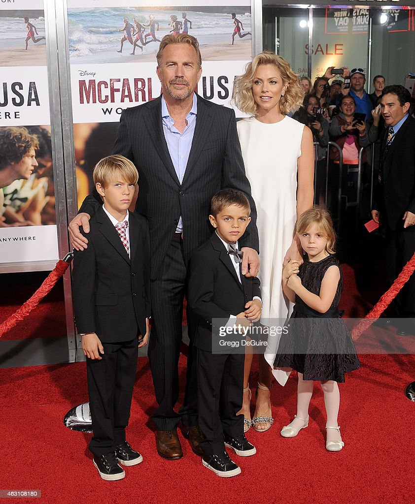 Actor Kevin Costner, wife Christine Baumgartner and children Grace Avery Costner, Hayes Logan Costner and Cayden Wyatt Costner arrive at the World Premiere of Disney's 'McFarland, USA' at the El Capitan Theatre on February 9, 2015 in Hollywood, California.