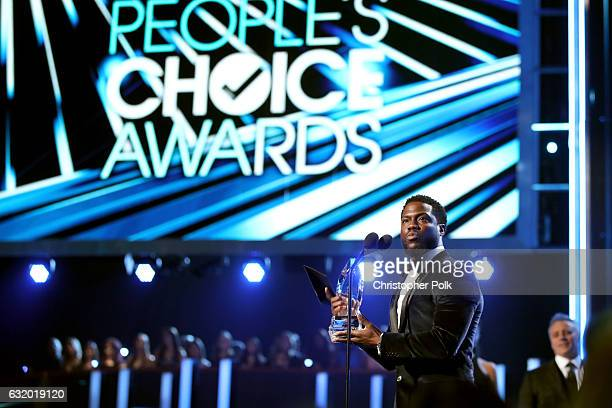 Actor Kevin Hart accepts the Favorite Comedic Movie Actor award onstage during the People's Choice Awards 2017 at Microsoft Theater on January 18...
