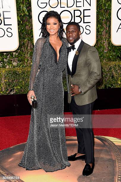 Actor Kevin Hart and Eniko Parrish attend the 73rd Annual Golden Globe Awards held at the Beverly Hilton Hotel on January 10 2016 in Beverly Hills...