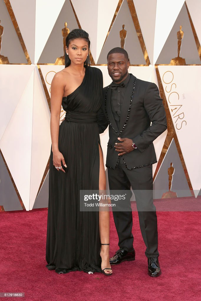 Actor Kevin Hart and Eniko Parrish attend the 88th Annual Academy Awards at Hollywood Highland Center on February 28 2016 in Hollywood California