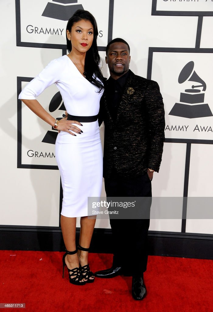 Actor Kevin Hart (R) and Eniko Parrish attends the 56th GRAMMY Awards at Staples Center on January 26, 2014 in Los Angeles, California.