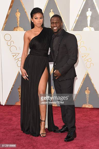 Actor Kevin Hart and Eniko Parrish attends the 88th Annual Academy Awards at Hollywood Highland Center on February 28 2016 in Hollywood California