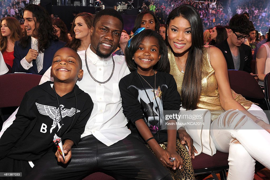 Actor <a gi-track='captionPersonalityLinkClicked' href=/galleries/search?phrase=Kevin+Hart+-+Actor&family=editorial&specificpeople=4538838 ng-click='$event.stopPropagation()'>Kevin Hart</a> (2nd from L) and guests attend Nickelodeon's 27th Annual Kids' Choice Awards held at USC Galen Center on March 29, 2014 in Los Angeles, California.