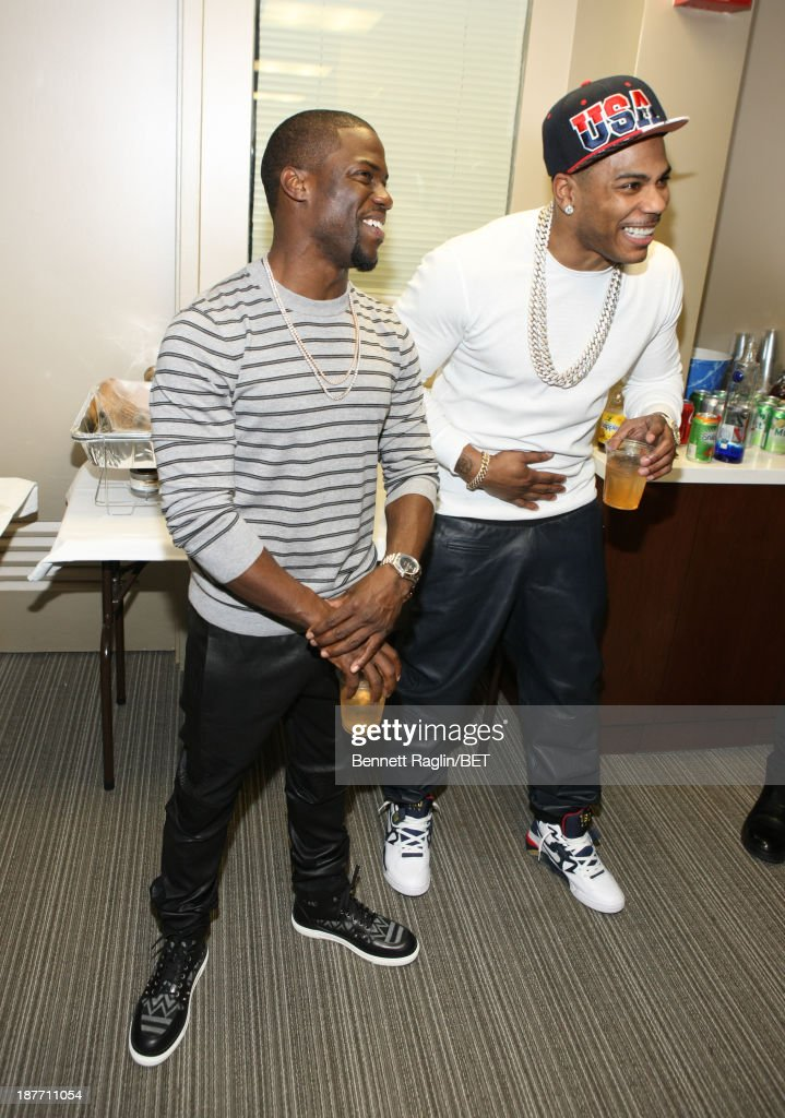 Actor Kevin Hart and recording artist Nelly visits 106 & Park at 106 & Park studio on November 11, 2013 in New York City.
