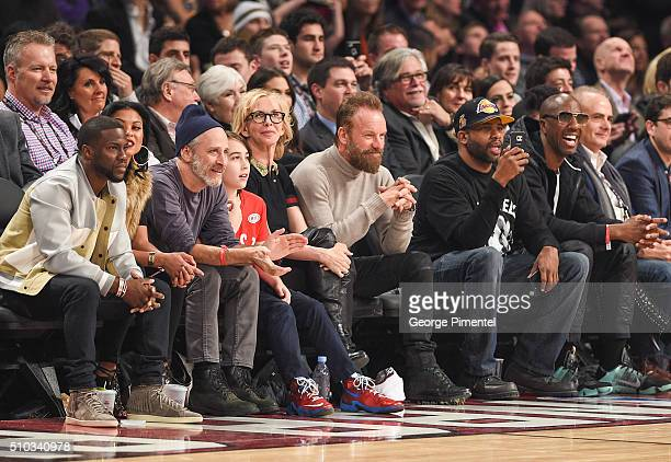 Actor Kevin Hart Eniko Parrish TV Personality Jon Stewart Trudie Styler Musician Sting Guest and J B Smoove attend the 2016 NBA AllStar Game at Air...