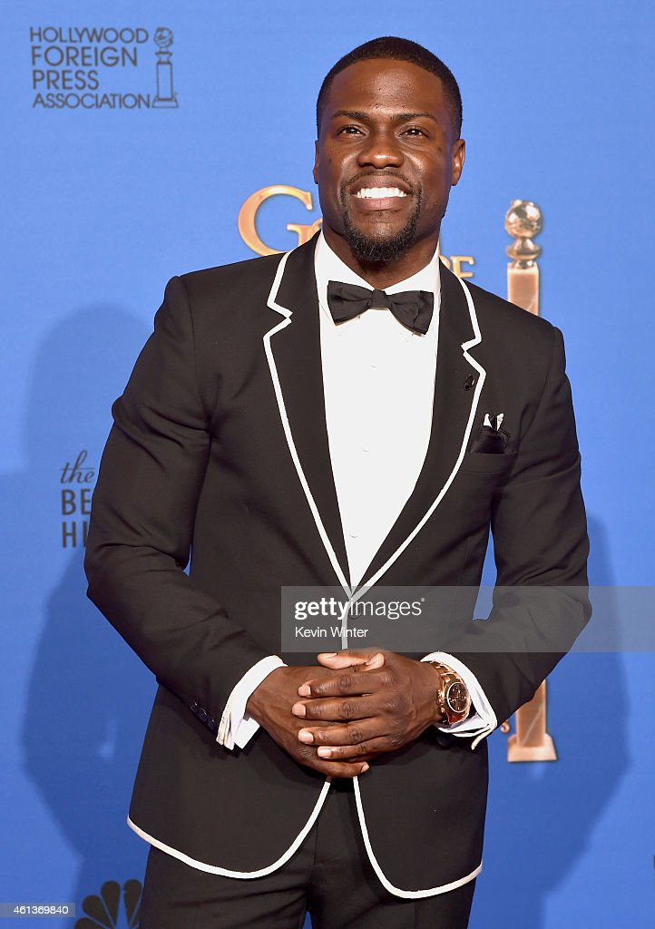 Actor Kevin Hart poses in the press room during the 72nd Annual Golden Globe Awards at The Beverly Hilton Hotel on January 11 2015 in Beverly Hills...