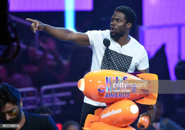 Actor Kevin Hart speaks onstage at Nickelodeon's 2017 Kids' Choice Awards at USC Galen Center on March 11 2017 in Los Angeles California