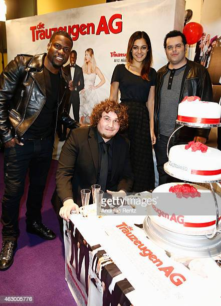 Actor Kevin Hart youtuber Robert Hofmann Nilan Farooq and actor Josh Gad attend the premiere of the film 'Die Trauzeugen AG' on February 8 2015 in...