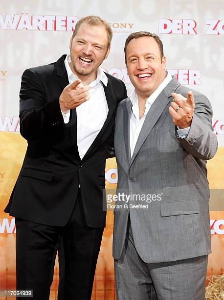 Actor Kevin James and actor Mario Barth attend the Premiere of 'Zookeeper' at CineStar on June 20 2011 in Berlin Germany