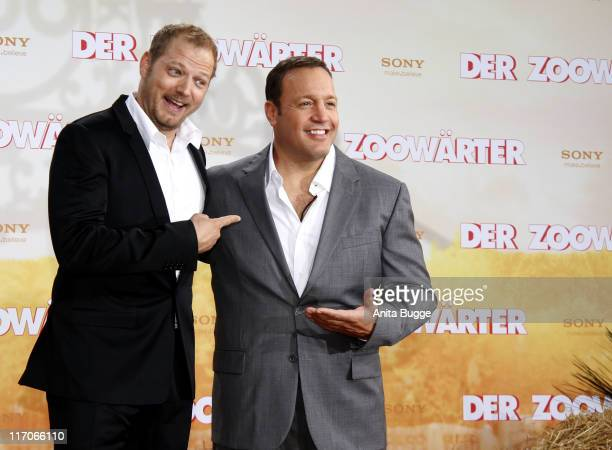 Actor Kevin James and actor Mario Barth attend the Premiere of 'Zookeeper' at CineStar movie theater on June 20 2011 in Berlin Germany