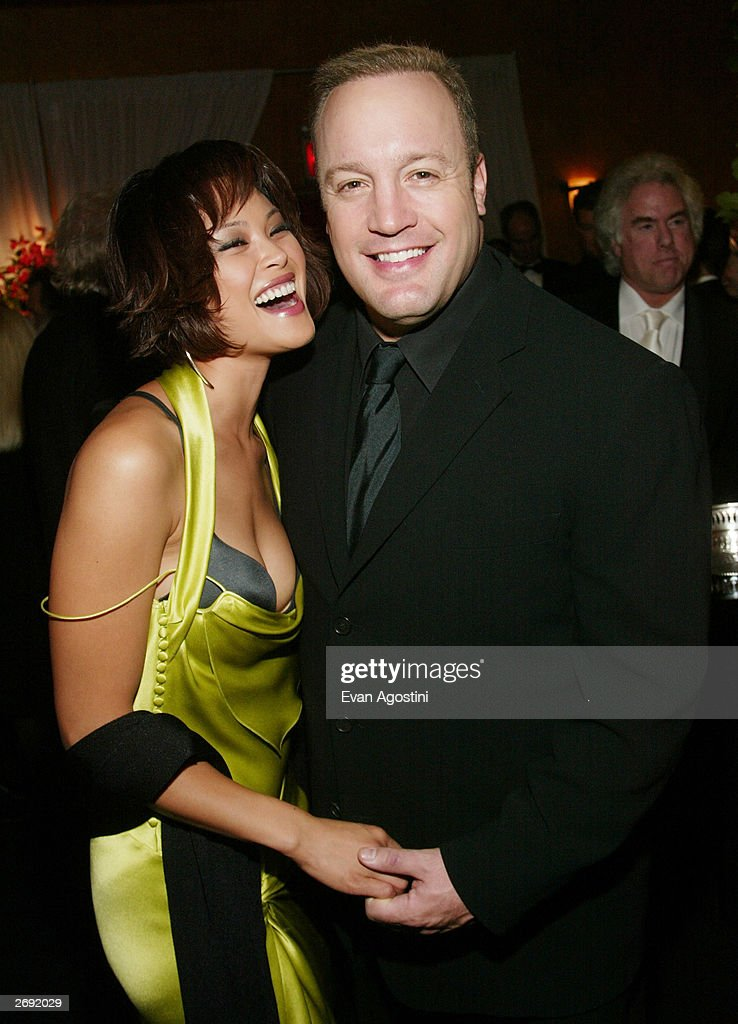 Actor Kevin James and girlfriend Steffiani de la Cruz attend the cocktail party for the 'CBS at 75' television gala at the Hammerstein Ballroom November 2, 2003 in New York City.