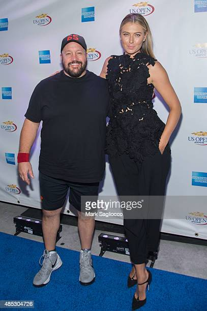 Actor Kevin James and WTA Tennis Player Maria Sharapova attend the 2015 American Express Rally on the River at Pier 97 on August 26 2015 in New York...