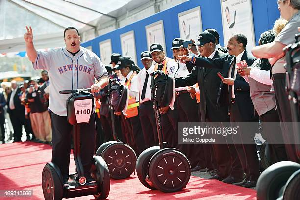 Actor Kevin James arrives on Segway vehicle for the 'Paul Blart Mall Cop 2' New York Premiere at AMC Loews Lincoln Square on April 11 2015 in New...