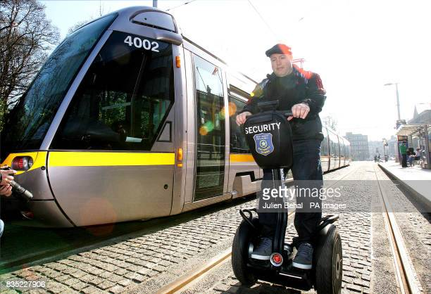 Actor Kevin James riding a Segway in front of a Luas on StStephens Green James is in Dublin to promote the new Hollywood film 'Paul Blart Mall Cop'