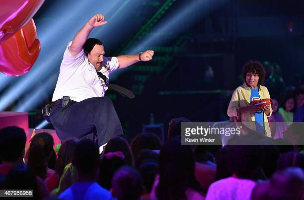 Actor Kevin James speaks onstage during Nickelodeon's 28th Annual Kids' Choice Awards held at The Forum on March 28 2015 in Inglewood California