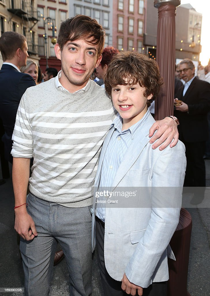 Actor Kevin McHale (L) and <a gi-track='captionPersonalityLinkClicked' href=/galleries/search?phrase=Nolan+Gould&family=editorial&specificpeople=5691358 ng-click='$event.stopPropagation()'>Nolan Gould</a> attend Twentieth Century Fox Television Distribution's 2013 LA Screenings Lot Party at Twentieth Century Fox Studio Lot on May 23, 2013 in Los Angeles, California.