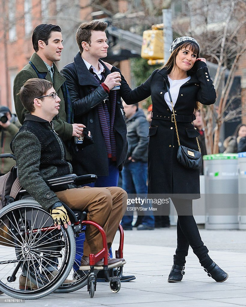 Actor Kevin McHale, <a gi-track='captionPersonalityLinkClicked' href=/galleries/search?phrase=Darren+Criss&family=editorial&specificpeople=7341435 ng-click='$event.stopPropagation()'>Darren Criss</a>, Chris Coifer and <a gi-track='captionPersonalityLinkClicked' href=/galleries/search?phrase=Lea+Michele&family=editorial&specificpeople=566514 ng-click='$event.stopPropagation()'>Lea Michele</a> are seen on March 14, 2014 in New York City.