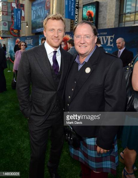 Actor Kevin McKidd and Chief Creation Officer of Pixar Animation Studios John Lasseter arrive at the premiere of 'Brave' during the 2012 Los Angeles...