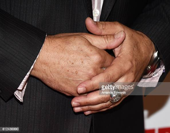 Actor Kevin Pollak ring detail arrives at the premiere of Momentum Pictures' 'The Late Bloomer' at iPic Theaters on October 3 2016 in Los Angeles...