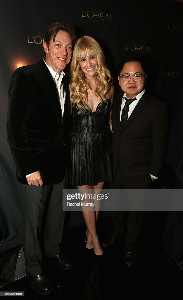 Actor Kevin Rahm, actress <a gi-track='captionPersonalityLinkClicked' href=/galleries/search?phrase=Beth+Behrs&family=editorial&specificpeople=6556378 ng-click='$event.stopPropagation()'>Beth Behrs</a> and actor Matthew Moy attend the L'Oreal cocktail party prior to the HBO Luxury Lounge at Four Seasons Hotel Los Angeles at Beverly Hills on January 11, 2013 in Beverly Hills, California.