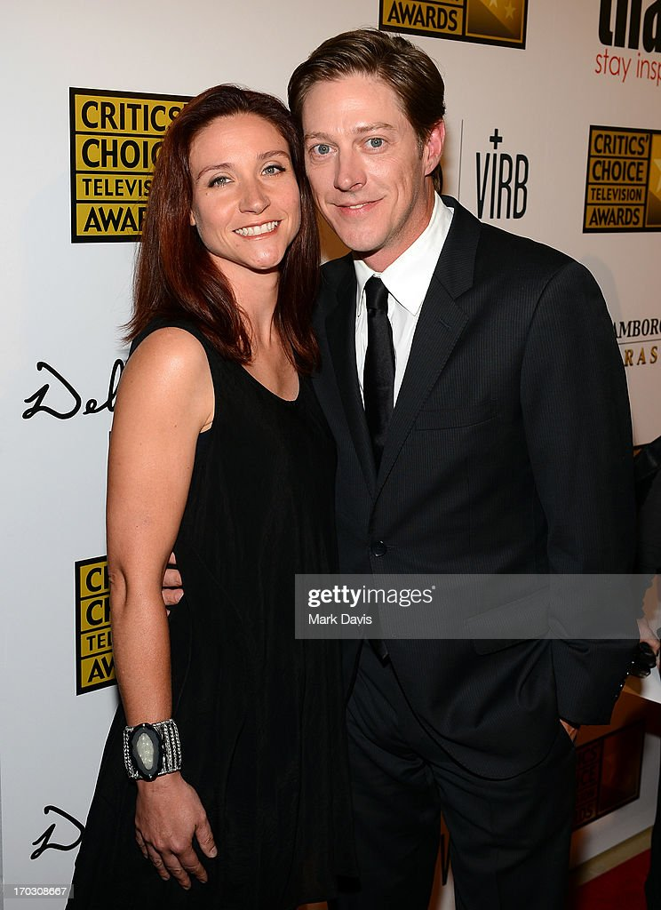Actor Kevin Rahm (R) and Dr. Amy Lonkar arrive at Broadcast Television Journalists Association's third annual Critics' Choice Television Awards at The Beverly Hilton Hotel on June 10, 2013 in Los Angeles, California.