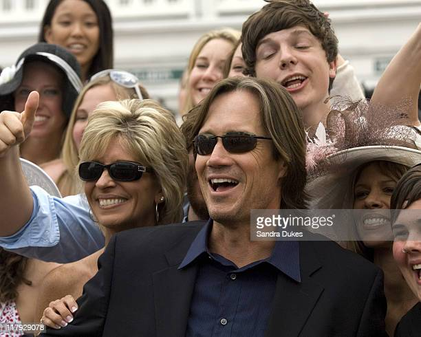 Actor Kevin Sorbo Hercules and some of his fans on Derby Day at Churchill Downs Louisville KY May 5 2007