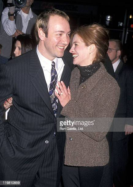 Actor Kevin Spacey and actress Julia Roberts attend the 'Albino Alligator' Westwood Premiere on January 14 1997 at Mann Bruin Theatre in Westwood...