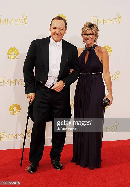 Actor Kevin Spacey and Ashleigh Banfield arrive at the 66th Annual Primetime Emmy Awards at Nokia Theatre LA Live on August 25 2014 in Los Angeles...