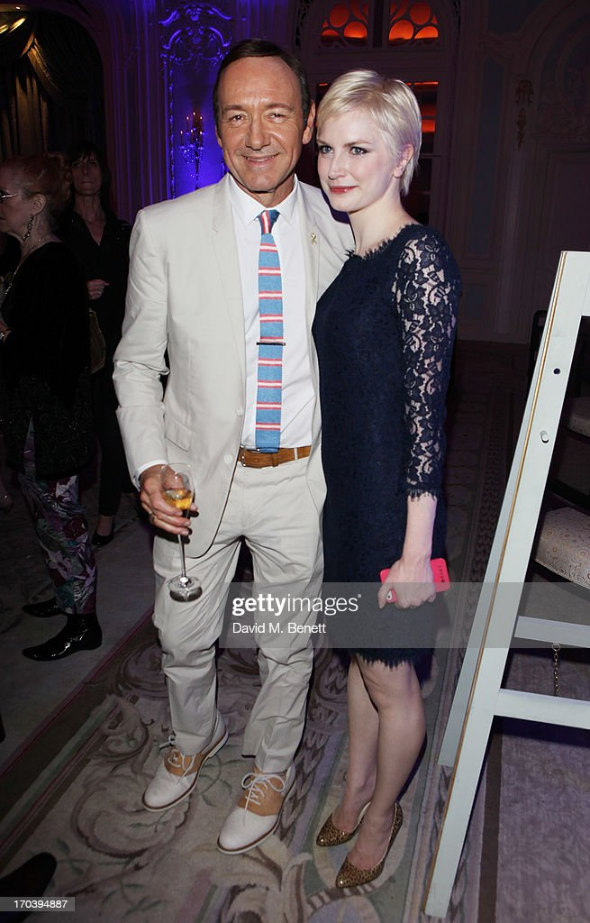 Actor <a gi-track='captionPersonalityLinkClicked' href=/galleries/search?phrase=Kevin+Spacey&family=editorial&specificpeople=202091 ng-click='$event.stopPropagation()'>Kevin Spacey</a> and cast member Louise Dylan attends an after party following the press night performance of The Old Vic's 'Sweet Bird of Youth' at The Savoy Hotel on June 12, 2013 in London, England.