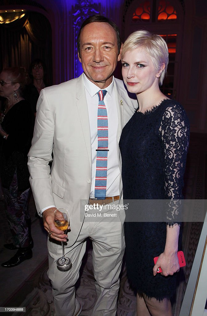 Actor Kevin Spacey and cast member Louise Dylan attends an after party following the press night performance of The Old Vic's 'Sweet Bird of Youth' at The Savoy Hotel on June 12, 2013 in London, England.