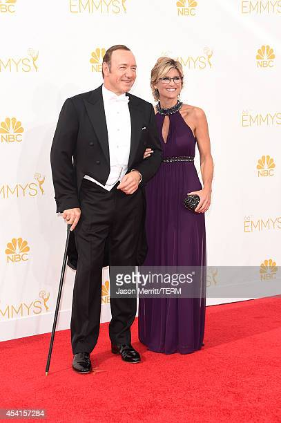 Actor Kevin Spacey and TV personality Ashleigh Banfield attend the 66th Annual Primetime Emmy Awards held at Nokia Theatre LA Live on August 25 2014...