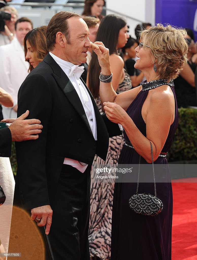 Actor <a gi-track='captionPersonalityLinkClicked' href=/galleries/search?phrase=Kevin+Spacey&family=editorial&specificpeople=202091 ng-click='$event.stopPropagation()'>Kevin Spacey</a> and TV personality <a gi-track='captionPersonalityLinkClicked' href=/galleries/search?phrase=Ashleigh+Banfield&family=editorial&specificpeople=4534546 ng-click='$event.stopPropagation()'>Ashleigh Banfield</a> attend the 66th Annual Primetime Emmy Awards held at the Nokia Theatre L.A. Live on August 25, 2014 in Los Angeles, California.