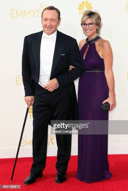 Actor Kevin Spacey and TV personality Ashleigh Banfield attend the 66th Annual Primetime Emmy Awards at the Nokia Theatre LA Live on August 25 2014...