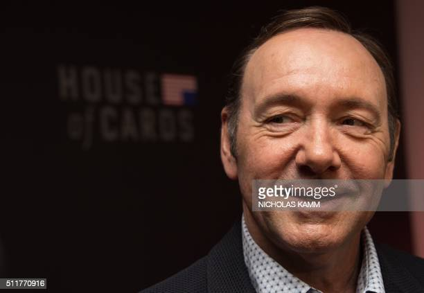 Actor Kevin Spacey arrives at the season 4 premiere screening of the Netflix show 'House of Cards' in Washington DC on February 22 2016 / AFP /...