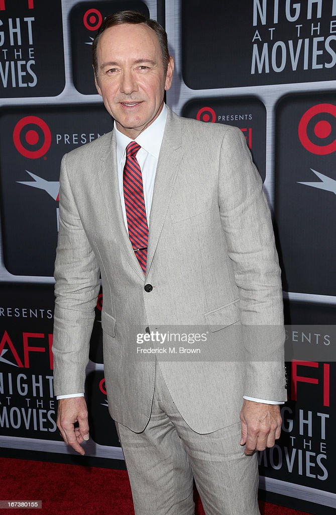 Actor <a gi-track='captionPersonalityLinkClicked' href=/galleries/search?phrase=Kevin+Spacey&family=editorial&specificpeople=202091 ng-click='$event.stopPropagation()'>Kevin Spacey</a> arrives on the red carpet for Target Presents AFI's Night at the Movies at ArcLight Cinemas on April 24, 2013 in Hollywood, California.
