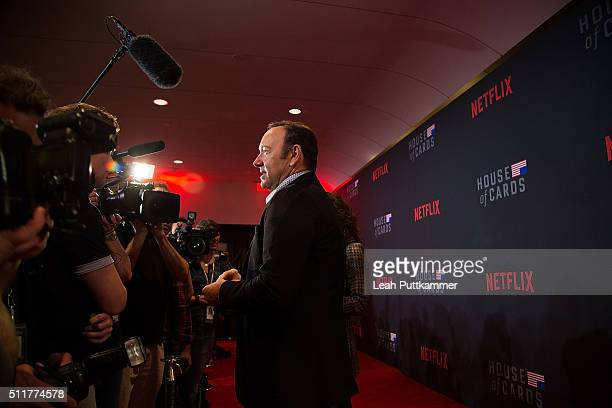 Actor Kevin Spacey attends the 'House of Cards' Season 4 Premiere at the National Portrait Gallery on February 22 2016 in Washington DC