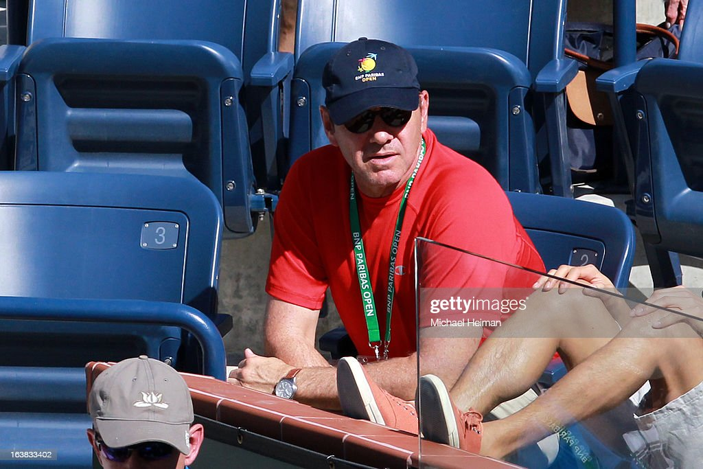 Actor Kevin Spacey attends the the men's semifinal match between Novak Djokovic of Serbia and Juan Martin del Potro of Argentina during the 2013 BNP Paribas Open at the Indian Wells Tennis Garden on March 16, 2013 in Indian Wells, California.